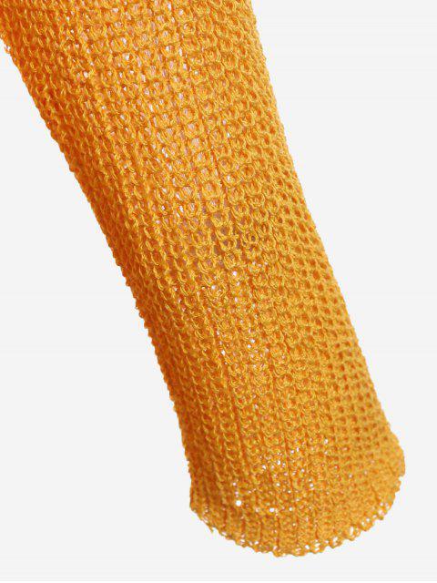 fashion Plunging Neck Drop Shoulder Sweater - GINGER ONE SIZE Mobile