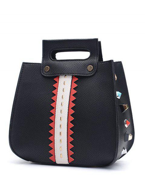 chic Textured Leather Colour Block Rivets Handbag - BLACK  Mobile