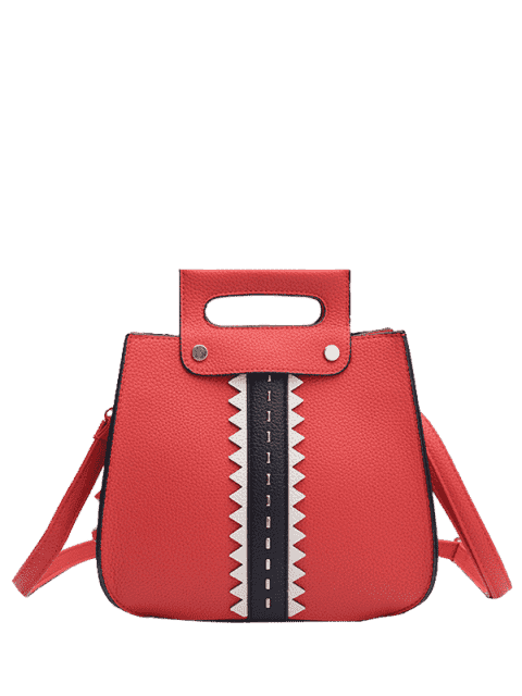unique Textured Leather Colour Block Rivets Handbag - RED  Mobile