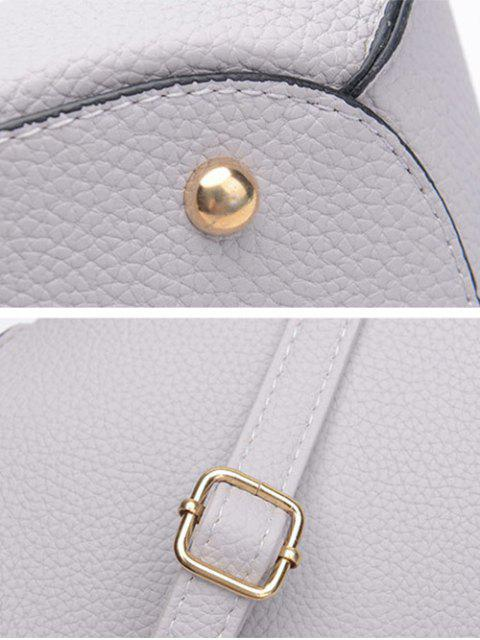 affordable Textured Leather Colour Block Rivets Handbag - GRAY  Mobile