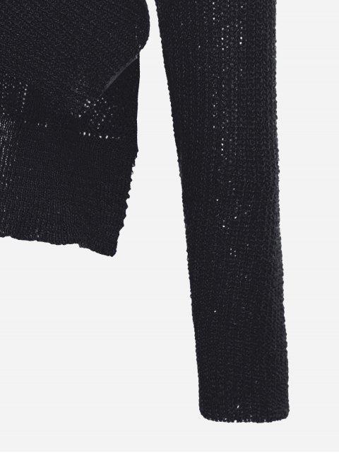 ladies Drop Shoulder Plain Wrap Sweater - BLACK ONE SIZE Mobile