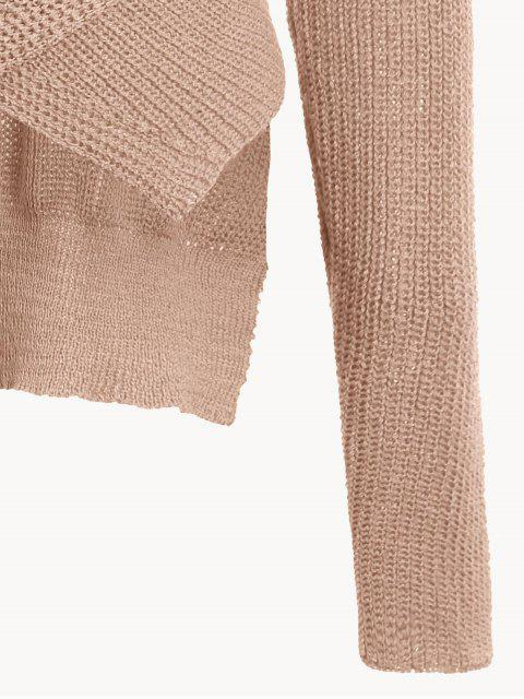 lady Drop Shoulder Plain Wrap Sweater - NUDE PINK ONE SIZE Mobile