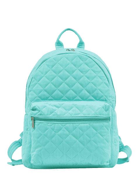 online Zippers Double Pocket Quilted Backpack - PANTONE TURQUOISE  Mobile