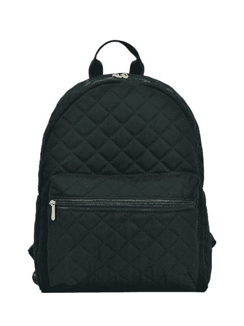new Zippers Double Pocket Quilted Backpack - BLACK  Mobile