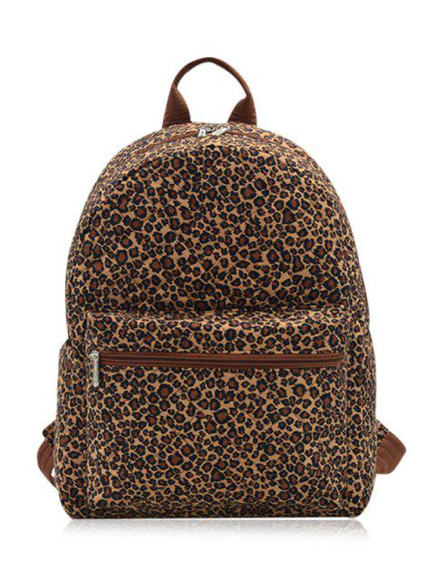 outfits Zippers Double Pocket Quilted Backpack - BROWN LEOPARD  Mobile