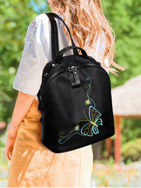 shops Embroidery Nylon Rivets Backpack - BLACK  Mobile