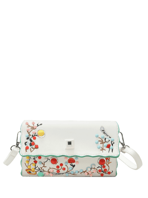 latest Faux Leather Embroidery Color Rivets Crossbody Bag - OFF-WHITE  Mobile