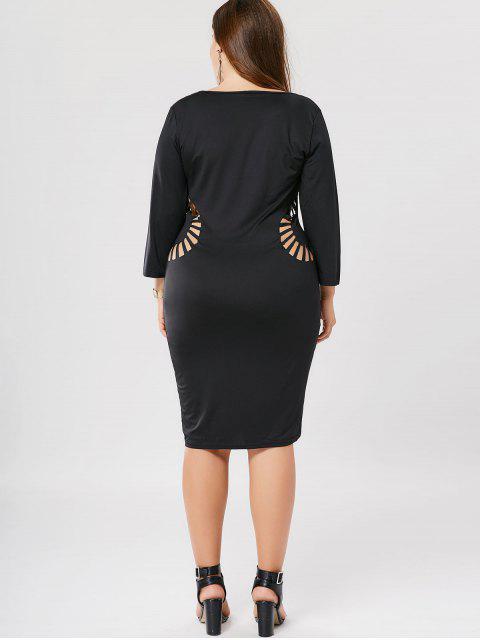 fancy Plus Size Cutout Bodycon Dress - BLACK 2XL Mobile