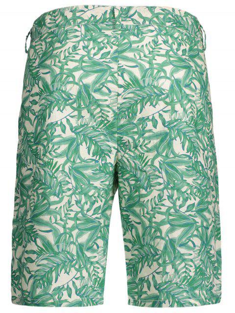unique Leaves Print Zipper Fly Casual Shorts - COLORMIX M Mobile