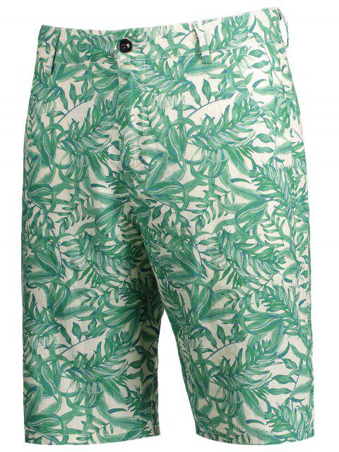 sale Leaves Print Zipper Fly Casual Shorts - COLORMIX L Mobile