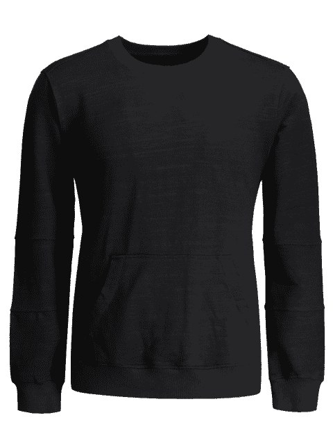 womens Crisscross Front Pocket Crewneck Sweatshirt - BLACK L Mobile