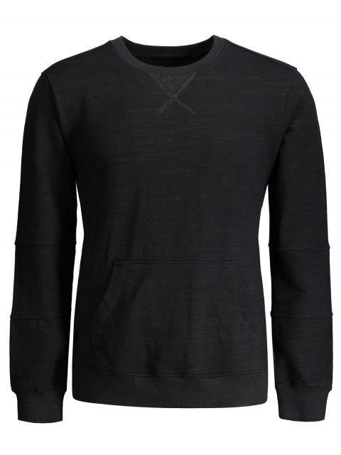 Crisscross Front Pocket Crewneck Sweatshirt - Noir L Mobile