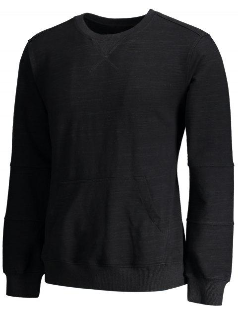 women Crisscross Front Pocket Crewneck Sweatshirt - BLACK XL Mobile