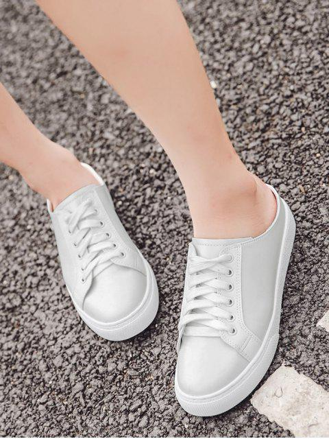 outfits Faux Leather Round Toe Tie Up Flat Shoes - WHITE 38 Mobile