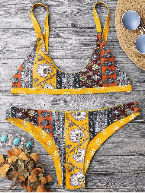 women's Patchwork Print Bralette Scoop Bikini Set - YELLOW S Mobile