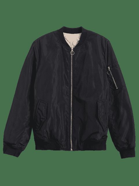 shop Zip Up Invisible Pockets Bomber Jacket - BLACK S Mobile