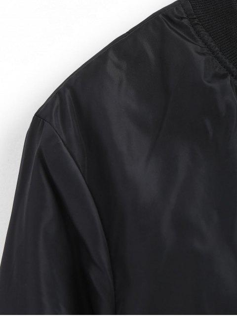 latest Zip Up Invisible Pockets Bomber Jacket - BLACK L Mobile