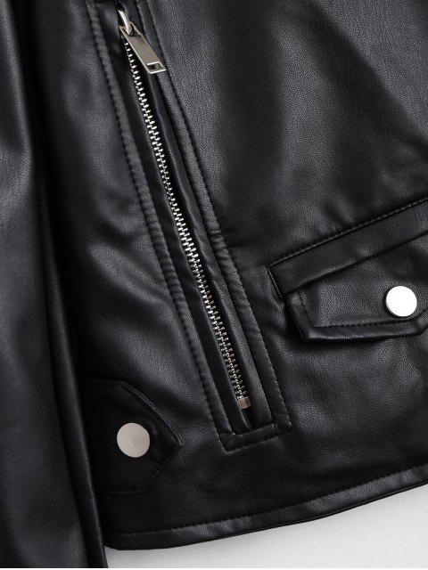 trendy Zip Up Pockets Faux Leather Jacket - BLACK S Mobile