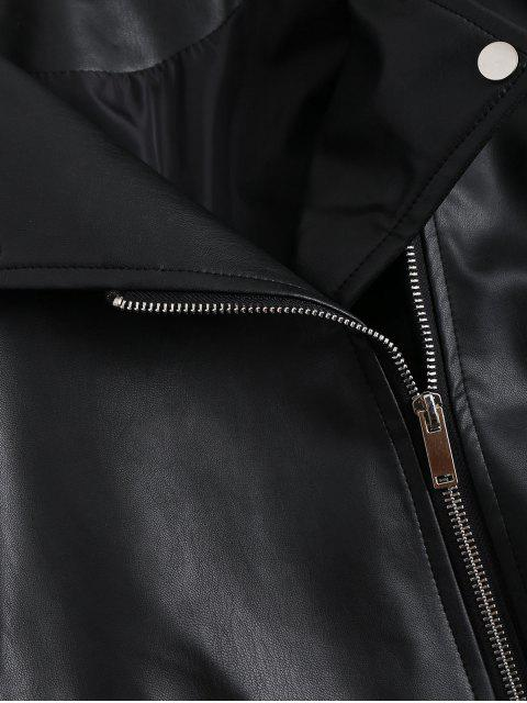 chic Zip Up Pockets Faux Leather Jacket - BLACK L Mobile