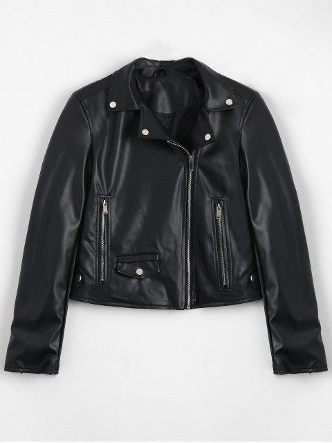 chic Zip Up Pockets Faux Leather Jacket - BLACK L Mobile