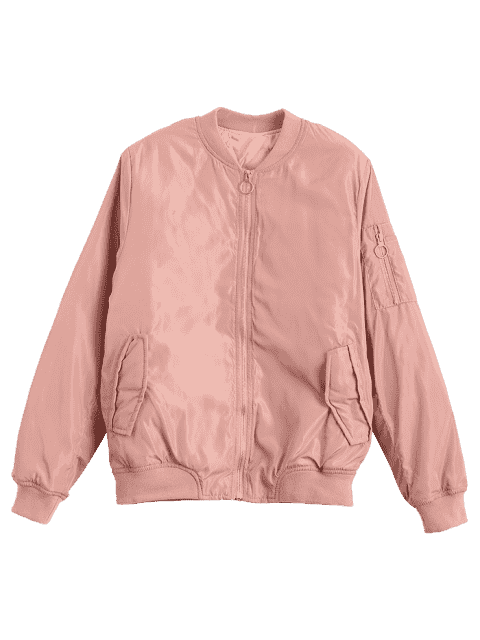 fancy Zip Up Invisible Pockets Bomber Jacket - PINK L Mobile