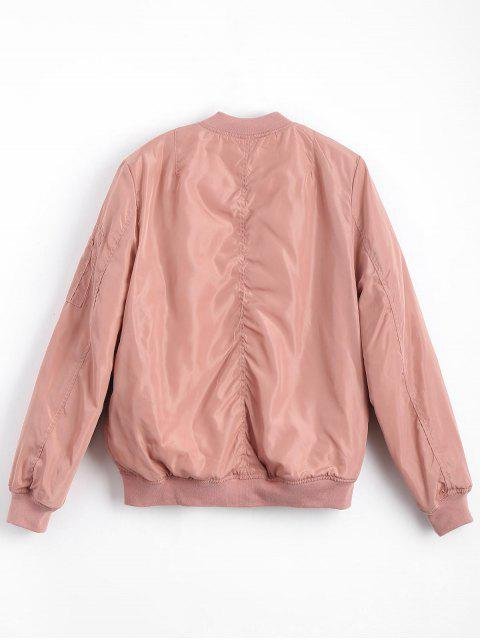 unique Zip Up Invisible Pockets Bomber Jacket - PINK M Mobile