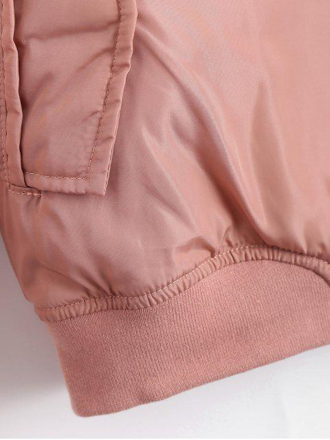 sale Zip Up Invisible Pockets Bomber Jacket - PINK S Mobile