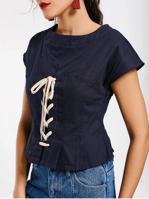 trendy Side Zip Lace Up Top - PURPLISH BLUE L Mobile