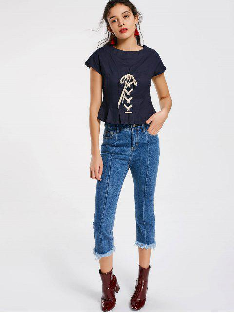 affordable Side Zip Lace Up Top - PURPLISH BLUE S Mobile