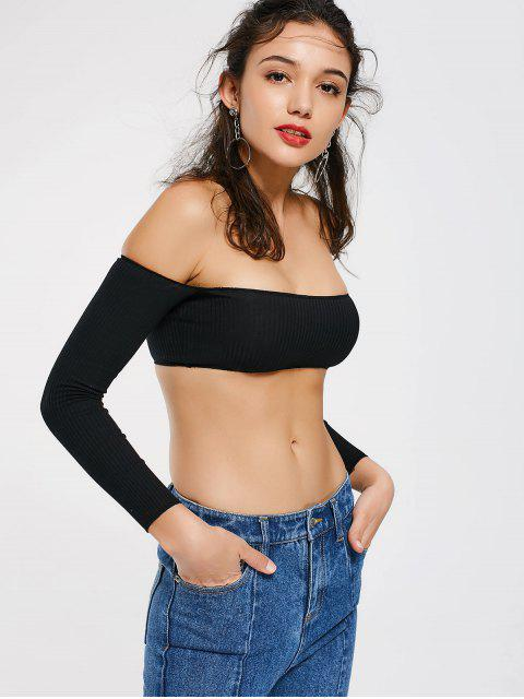 womens Cropped Ribbed Off Shoulder Top - BLACK ONE SIZE Mobile
