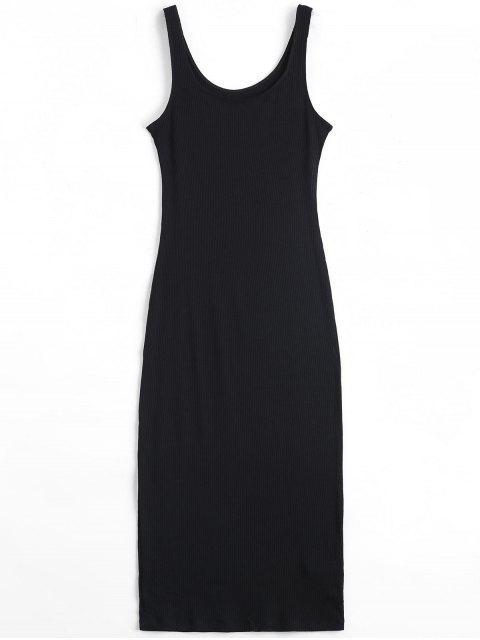 U Neck vestido de punto con nervaduras - Negro Talla única Mobile