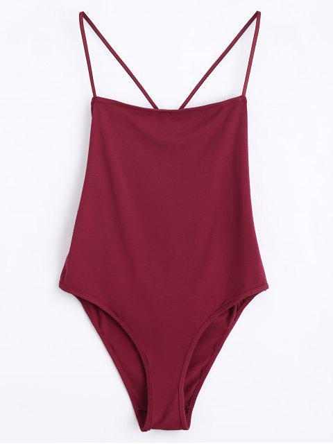 Body Skinny Croisé Cut Out - Rouge vineux  L Mobile