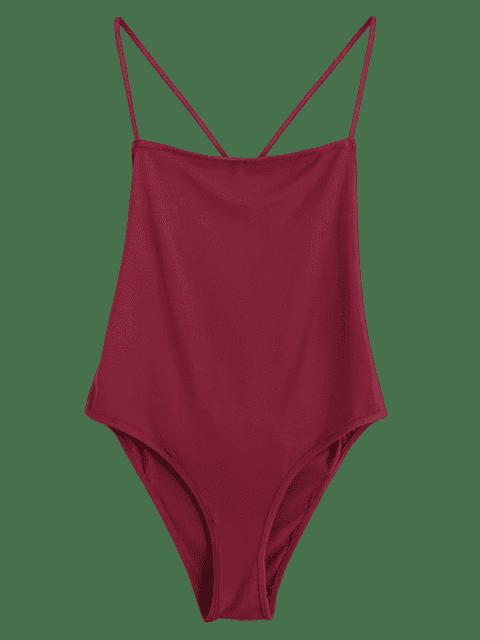 Skinny Criss Cross Cut Out Bodysuit - Rouge vineux  M Mobile