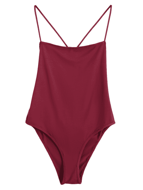 Skinny Criss Cross Cut Out Bodysuit - Rouge vineux  S Mobile