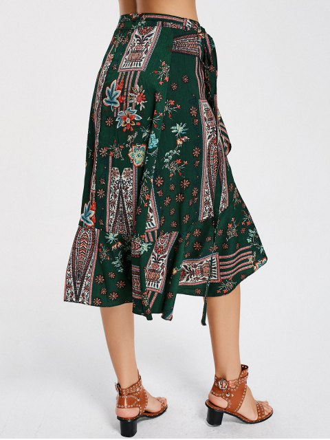 hot Floral Print High Waist Wrap Skirt - FLORAL L Mobile