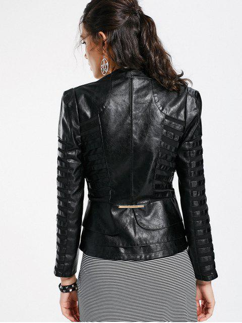 women Mesh Panel Faux Leather Jacket - BLACK M Mobile