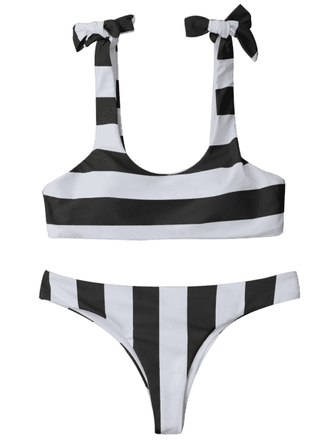outfits Striped Tie Shoulder Scoop Bikini Set - WHITE AND BLACK S Mobile