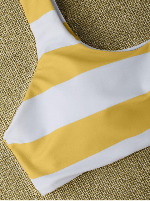 shops Striped Tie Shoulder Scoop Bikini Set - WHITE AND YELLOW M Mobile
