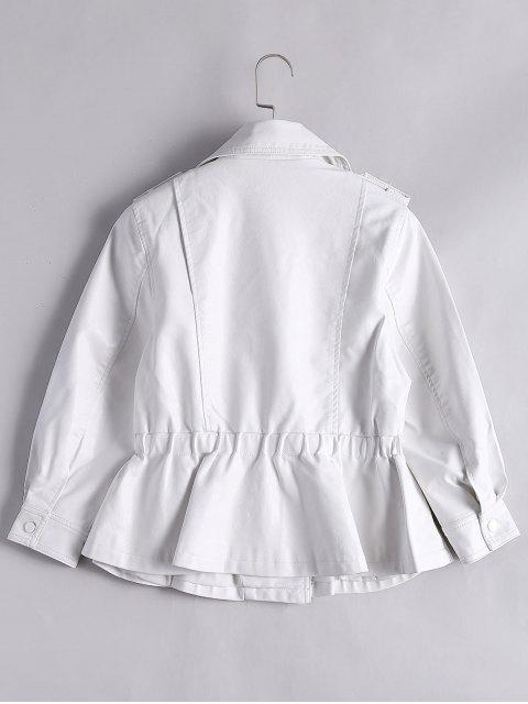 fancy Snap Buttons Faux Leather Jacket - WHITE S Mobile