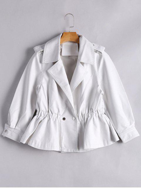 unique Snap Buttons Faux Leather Jacket - WHITE M Mobile
