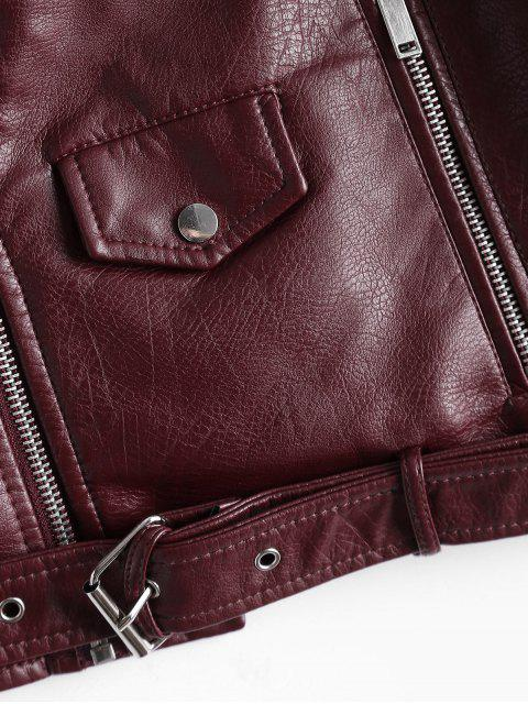 shop Zip Up Belted Faux Leather Biker Jacket - WINE RED L Mobile
