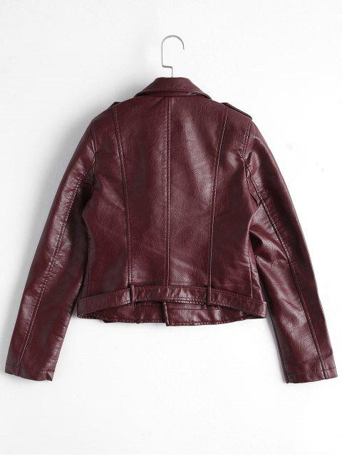 chic Zip Up Belted Faux Leather Biker Jacket - WINE RED M Mobile