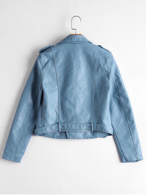 women's Zip Up Belted Faux Leather Biker Jacket - LIGHT BLUE XL Mobile