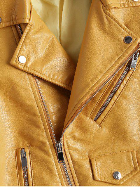 latest Zip Up Belted Faux Leather Biker Jacket - GINGER XL Mobile