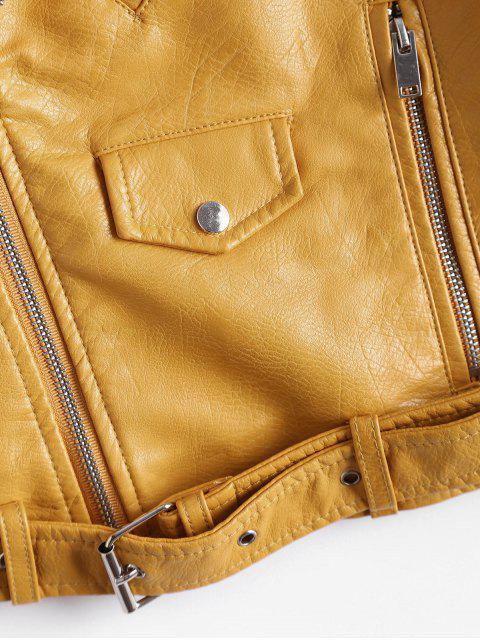 fancy Zip Up Belted Faux Leather Biker Jacket - GINGER M Mobile