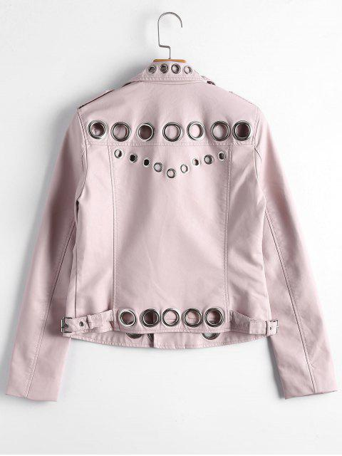 buy Hollow Out Ring Embellished Faux Leather Jacket - LIGHT PINK L Mobile