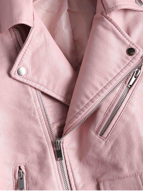 unique Zip Up Belted Faux Leather Biker Jacket - LIGHT PINK XL Mobile