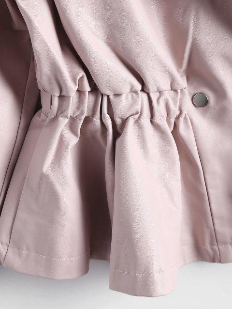 ladies Snap Buttons Faux Leather Jacket - LIGHT PINK S Mobile