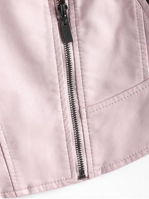 shops Faux Leather Asymmetric Zipper Jacket - LIGHT PINK L Mobile