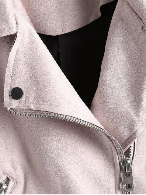 unique Asymmetric Zipper Belted Faux Suede Jacket - LIGHT PINK XL Mobile
